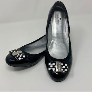 Kate Spade Tock Checker Bow Patent Ballet Shoes